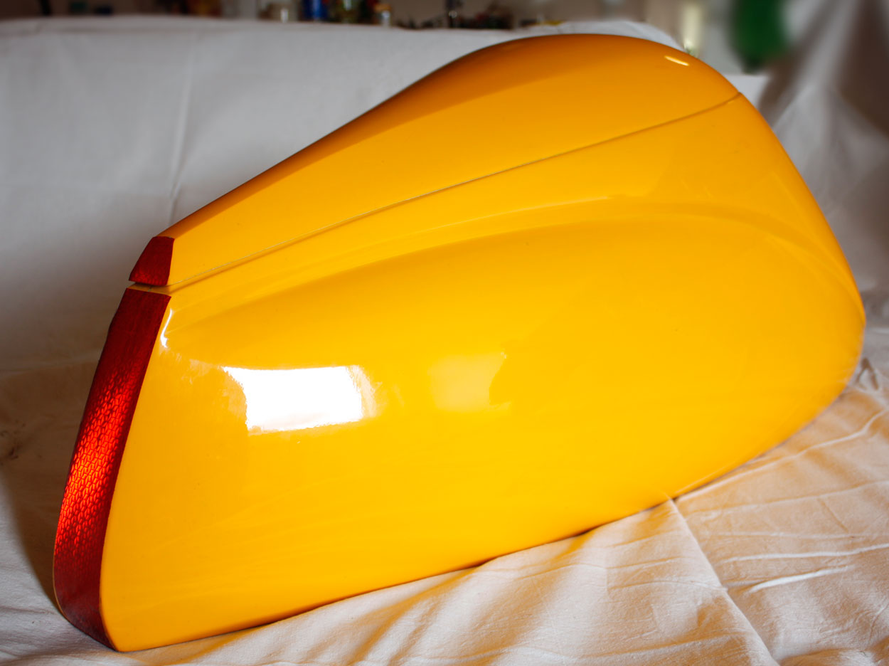 Talbox Dolphin, color: yellow for recumbent bike. Increases aerodynamic speed of recumbent bike.