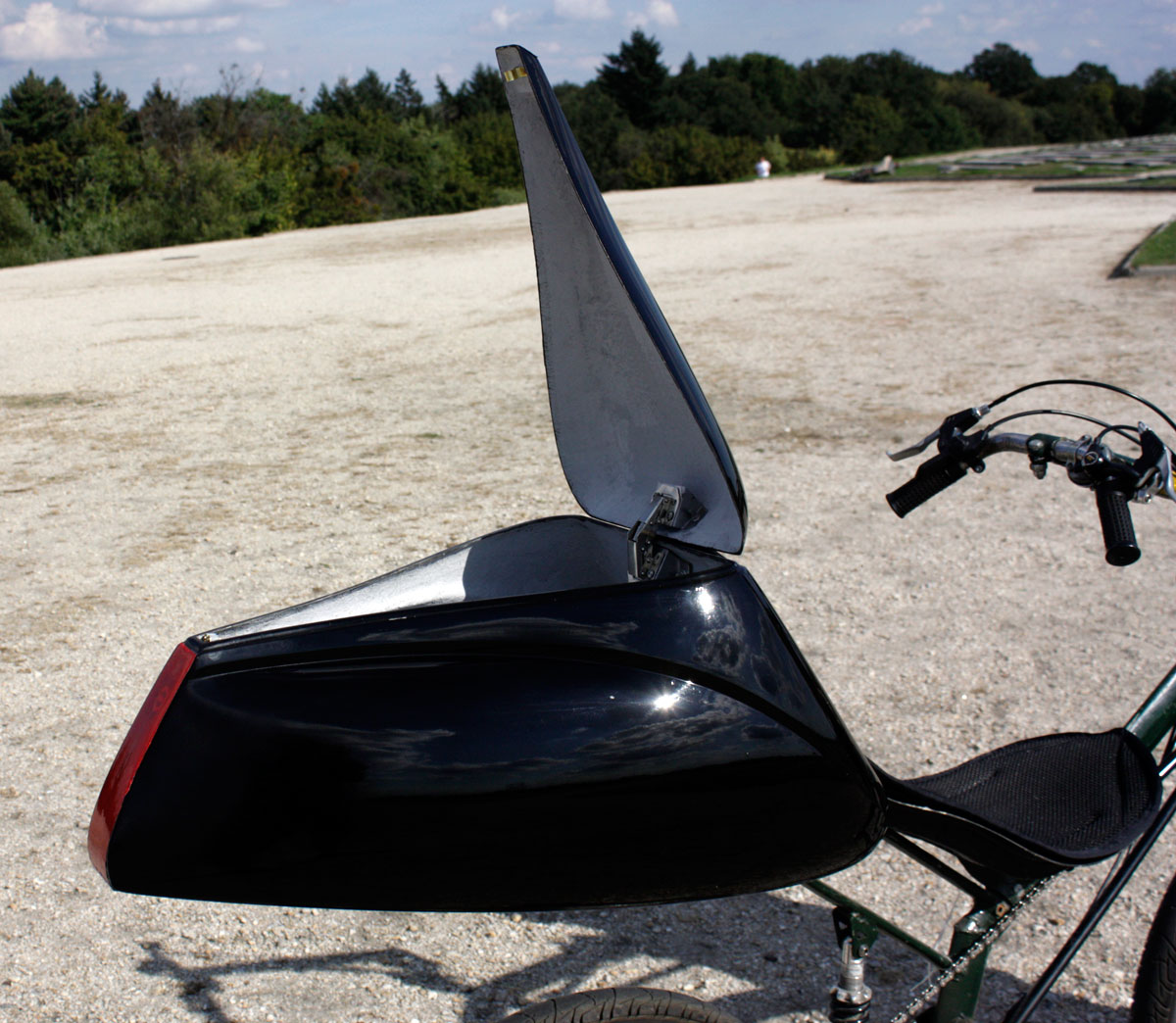 Talbox Dolphin, color: black. For recumbent bike. Increases aerodynamic speed of recumbent bike.