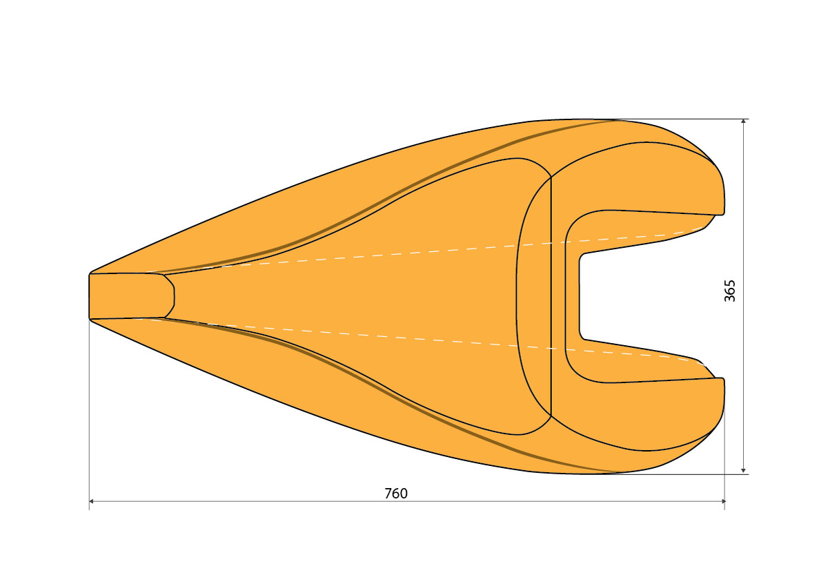Talbox Dolphin, technical drawing. For recumbent bike. Increases aerodynamic speed of recumbent bike.